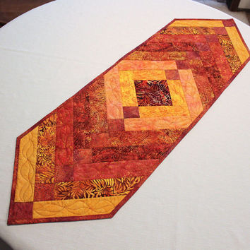 Autumn Quilted Table Runner - Orange, Gold, Rust Leaves French Braid Style, Table Runner Quilt, Fall Pumpkin Patch, Island Batiks Fabrics