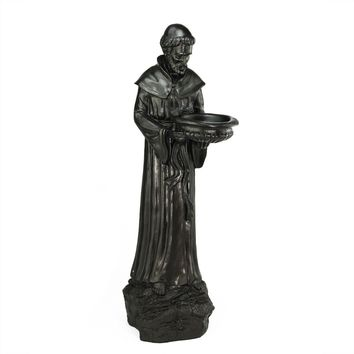 "24"" St. Francis of Assisi Dark Brown Religious Bird Feeder Outdoor Patio Garden Statue"