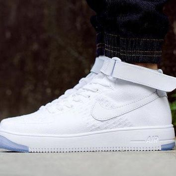 VON3TL Originals Nike Air Force One 1 Flyknit Mid White Running Sport Casual Shoes '07 817420-100 Sneakers