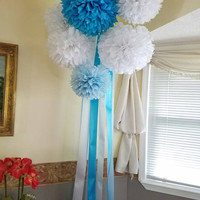 Set of 6 Tissue paper poms with ribbon streamers, wedding decor, party paper poms. pick your color.