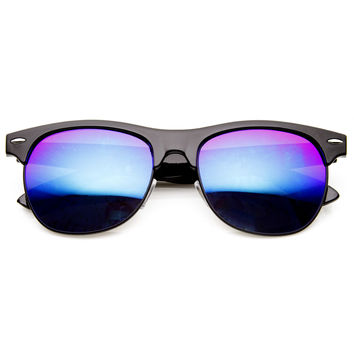 New Flash Mirrored Lens Horned Rim Half Frame Sunglasses 8927