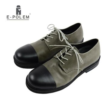 New Fashion Style Men Martin shoes casual men's shoes High quality Leather cowhide platform shoes Motorcycle Flats shoes