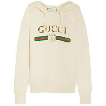 GUCCI Autumn Winter Fashion Women Men Loose Print Hoodie Sweater Top Sweatshirt