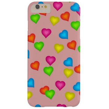 Bright Colorful Hearts Barely There iPhone 6 Plus Case