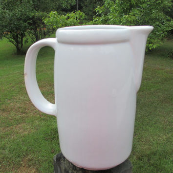 Vintage White Stoneware Pitcher--Primitive--Rustic--Country Farmhouse Kitchen