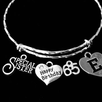 Special Sister Happy 65th Birthday Jewelry Adjustable Bracelet Silver Expandable Charm Bangle One Size Fits All Gift Optional Letter Charm