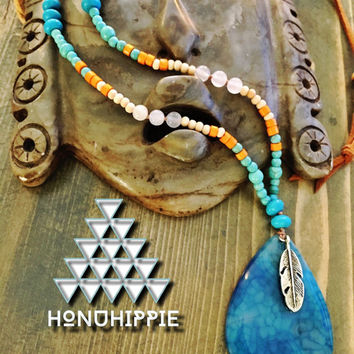 Boho hippie jewelry, native american feather necklace