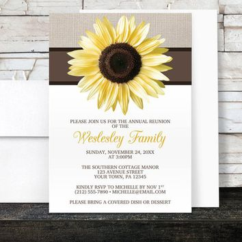 Sunflower Family Reunion Invitations - Rustic Yellow Sunflower and Mocha Linen and Brown - Printed Invitations