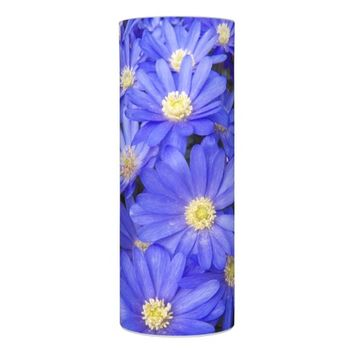 Blue Anemones Floral Photo Flameless Candle