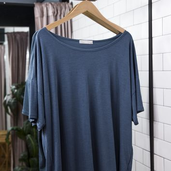 U-neck Basic Tee, Navy