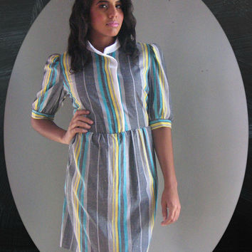 70s Stripe Dress m l - 40s style Turquoise yellow gray vertical contrast - military white collar work play day casual party - fall winter