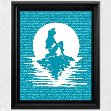 Disney Princess Silhouette Ariel Silhouette Little Mermaid Silhouette Download Printable 8x10 Wall Art Decor Instant Download Girls Room