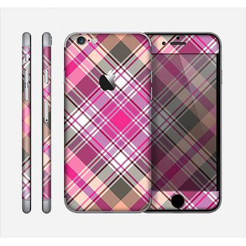 The Gray & Bright Pink Plaid Layered Pattern V5 Skin for the Apple iPhone 6