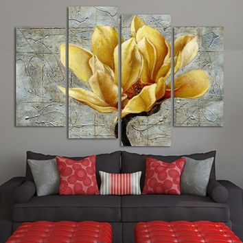 Fashion Unframed Abstract Painting 4 Panels Gold Flower Modern Oil Painting On Canvas Wall Art Gift Top Home Decoration