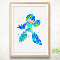 Mega Man, Rockman - Watercolor, Art Print, Home Wall decor, Watercolor Print, Disney Poster