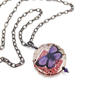 Butterfly Necklace, Black Chain Necklace, Romantic Jewelry, Butterfly Jewelry, Round Pendant, Purple Pendant, Simple Chain