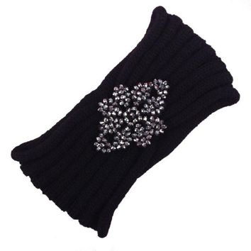 Hot Fashion Women Crochet Turban Crystal Knitting Headbands For Women Hairband Ear Warmer Headwraps For Girls Ladies Headwear