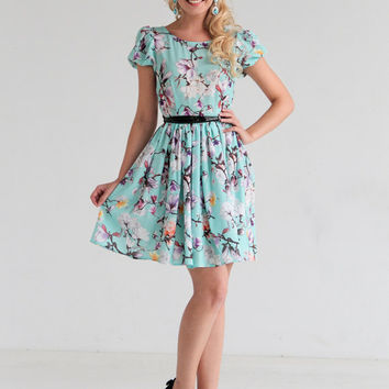 Printed dress, Summer Dress, Floral Dress,Mint Midi Dress, short sleeve dress, short dress, clothing, designers dress, day dress