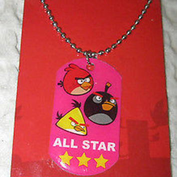 Rovio Kids  Angry Birds All Star Dog Tag Necklace Birthday PARTY FAVORS-NEW