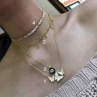 Sterling silver 18k gold plated butterfly, eye and baguette necklaces & choker