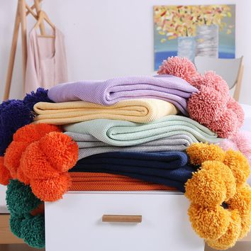 Cotton Couch Cover Cozy Sofa Knit blanket  Super Soft Warm With Multi Color Pompons