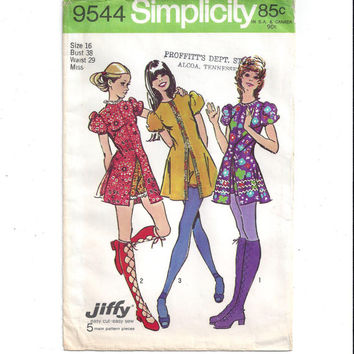 Simplicity 9544 Pattern for Misses' Mini Dress & Short Shorts, Vintage Hot Pants, Size 16, From 1971, Vintage Pattern, Home Sewing Pattern