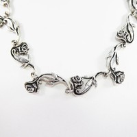 Sterling Silver Chain of Roses Necklace 17 Inch Choker Signed Bushart, Hawaiian Artist Vintage 1990s 2000 Rose Wedding necklace, Anniversary