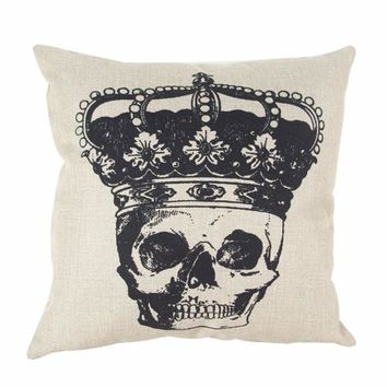 Royal Skull Linen Throw Pillow Cover