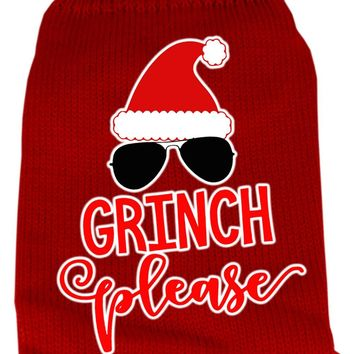 Grinch Please Screen Print Knit Pet Sweater Xs Red