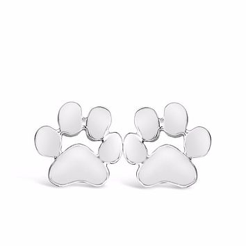 Dog Paw Print Stud Earrings