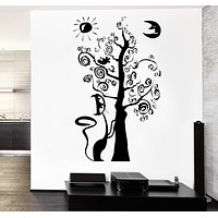 Wall Vinyl Decal Magic Fairy Tale Tree Cat Moon Sun Decor Unique Gift z3770