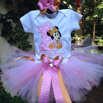 Pink Gold Baby Minnie Mouse 1st Birthday Outfit Onesuit Tutu FREE Hair Bow Personalized