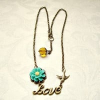 Antique brass Love Necklace by VartJewelry on Etsy