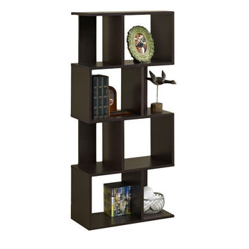 Modern Open Back 4-Shelf Bookcase Display Cabinet in Black