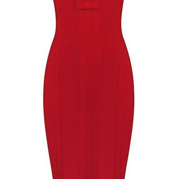 Honey Couture SHILOH Red Strapless Bow Bandage Dress