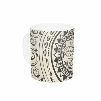 "Famenxt ""Boho Folk Mandala"" Beige Black Digital Ceramic Coffee Mug"