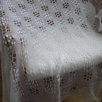 Hand knitted Christening shawl Baptism shawl Baby Shower gift Soft heirloom lace shawl Baby Blanket Estonian shawl with nupps READY TO SHIP