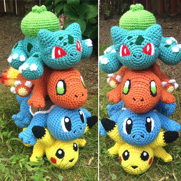 Pokemon Inspired: Kanto Starter Amigurumi (Crochet Plushie/Plush Toy) - Charmander, Squirtle, Bulbasaur and Pikachu! - MADE TO ORDER!
