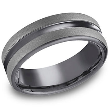 "Benchmark ""Tantalum"" 6.5mm Comfort Fit Grey & Black Men's Wedding Band"