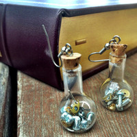 Steampunk Vial Earrings