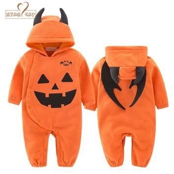 NYAN CAT Baby clothes orange full sleeves hooded halloween orange pumpkin clothing rompers playsuit infant toddler party costume