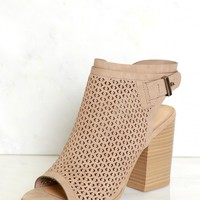 Peep Toe Cut Out Heels Light Taupe