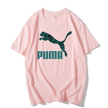 PUMA New fashion letter print couple top t-shirt Pink