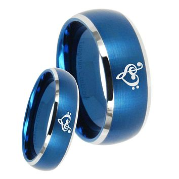 His Her Satin Blue Dome Music & Heart Two Tone Tungsten Wedding Rings Set