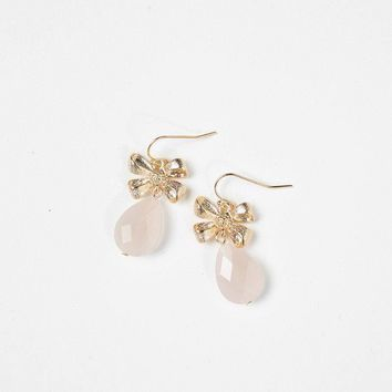 Wendy Pink Bow Teardrop Earrings