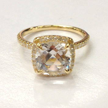 8x8mm White Topaz Engagement Ring 14K Yellow Gold!Diamond Wedding Bridal Ring,Cushion Cut VS Natural Gemstone,Custom Design Matching Band