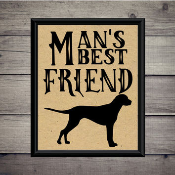 Man's Best Friend - Digital Print - Instant Download - Pet Art - Puppy Printable - Labrador - Dog - Golden Retriever - Paw Print - Vintage