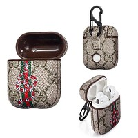 GUCCI Stripe Bee Snake Pattern iPhone AirPods Bluetooth Wireless Earphone Protector Protective Case(No Headphones)