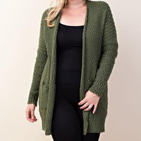 Aspen Knit Pocket Cardigan | Olive | Plus
