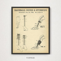 Baseball Socks & Stirrups Patent Print, Baseball Gallery Wall, Gift Ideas For Him, Baseball Fan Coach Gifts, Baseball Sports Decor, MLB Art